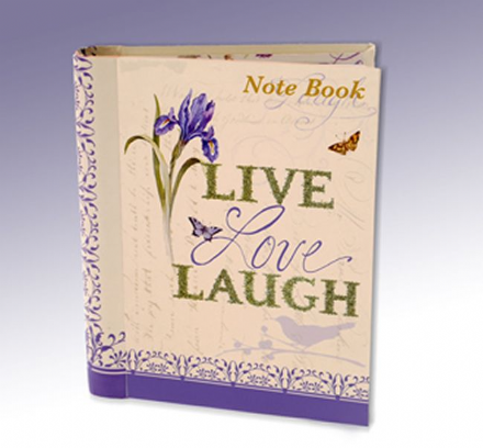 Live Laugh Love Floral Iris & Bird Hardback Notebook